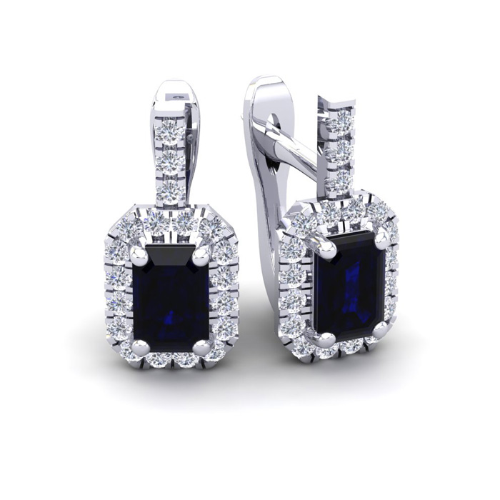 2 Carat Emerald Cut Sapphire and Halo Diamond Dangle Earrings In 14 Karat Wh..