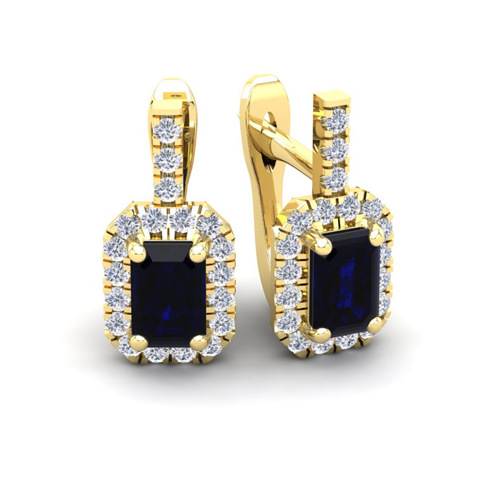 2 Carat Emerald Cut Sapphire and Halo Diamond Dangle Earrings In 14 Karat Ye..