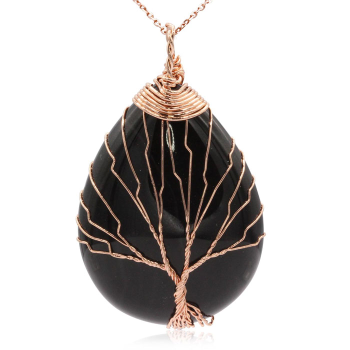 Rose Gold Tree of Life Wire Wrapped Black Onyx Teardrop Necklace, 18 Inches