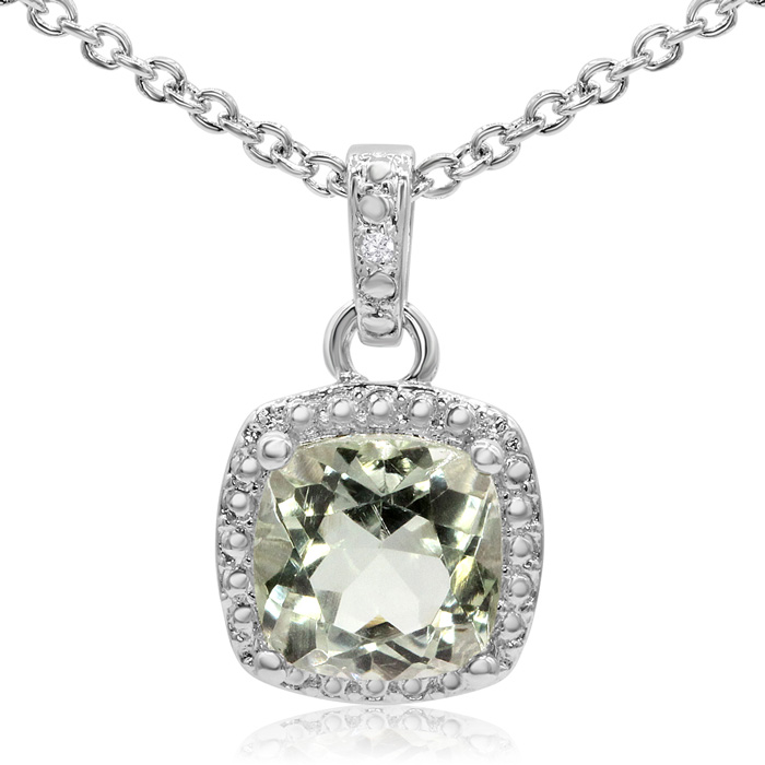2 Carat Cushion Cut Green Amethyst and Halo Diamond Necklace, 18 Inches