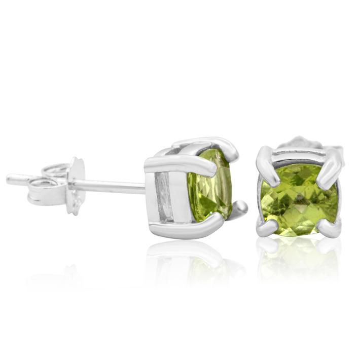 1 1/2 Carat Cushion Cut Peridot Stud Earrings In Sterling Silver
