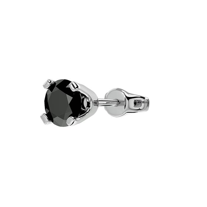 1/2ct Black Diamond SINGLE STUD Earring in White Gold