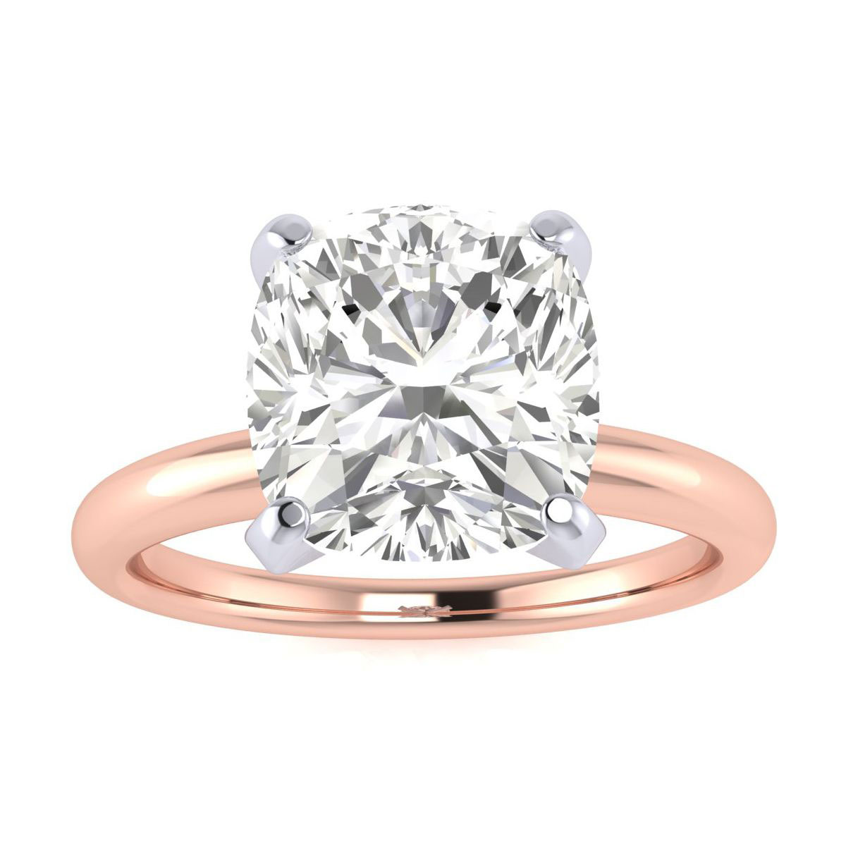 3ct Very Fine Cushion Diamond Solitaire in 14k Rose Gold. Incredible Value.