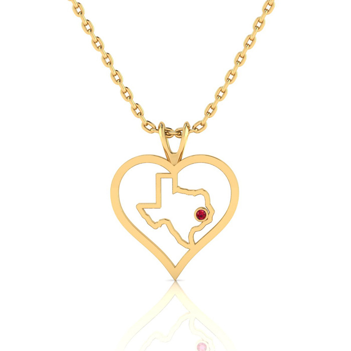 I Love Texas Heart Necklace In Yellow Gold With Crystal Ruby Accent, 18 Inch Chain.