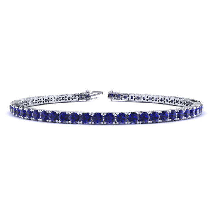 6 Inch 3 1/2 Carat Sapphire Tennis Bracelet In 10k White Gold