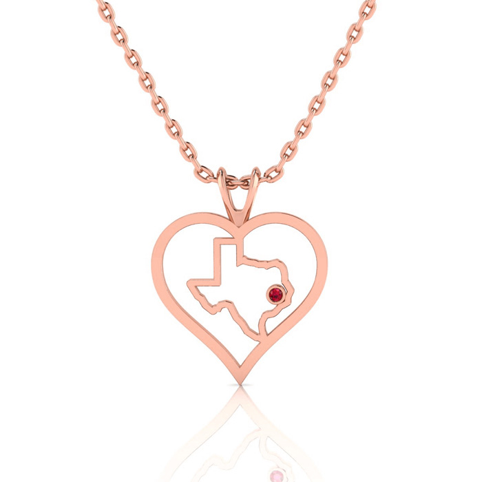 I Love Texas Heart Necklace In Rose Gold With Crystal Ruby Accent, 18 Inches. $10 Donated To Jj Watt Houston Flood Relief Fund From Every Purchase
