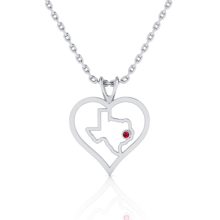 I Love Texas Heart Necklace In White Gold With Crystal Ruby Accent, 18 Inches.