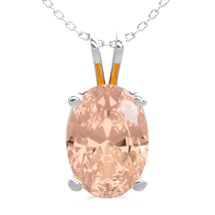 0.60 Carat Oval Shape Morganite Necklace In Sterling Silver, 18 Inches