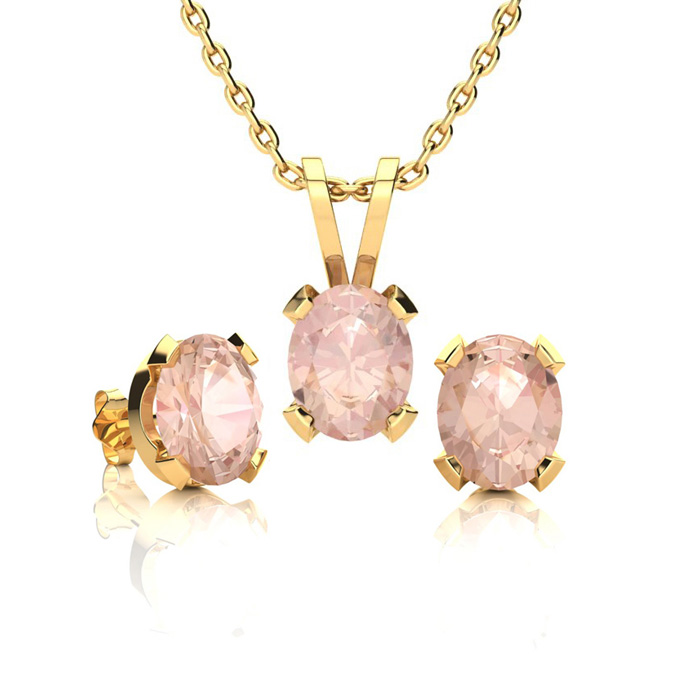 1 1/4 Carat Oval Shape Morganite Necklace and Earring Set In 14K Yellow Gold..
