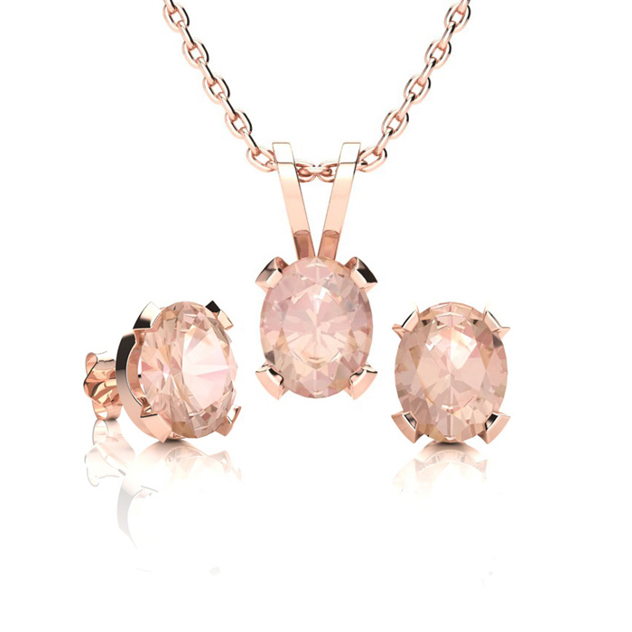 1 1/4 Carat Oval Shape Morganite Necklace and Earring Set In 14K Rose Gold O..