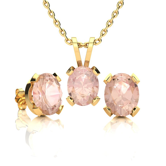 2 Carat Oval Shape Morganite Necklace and Earring Set In 14K Yellow Gold Ove..
