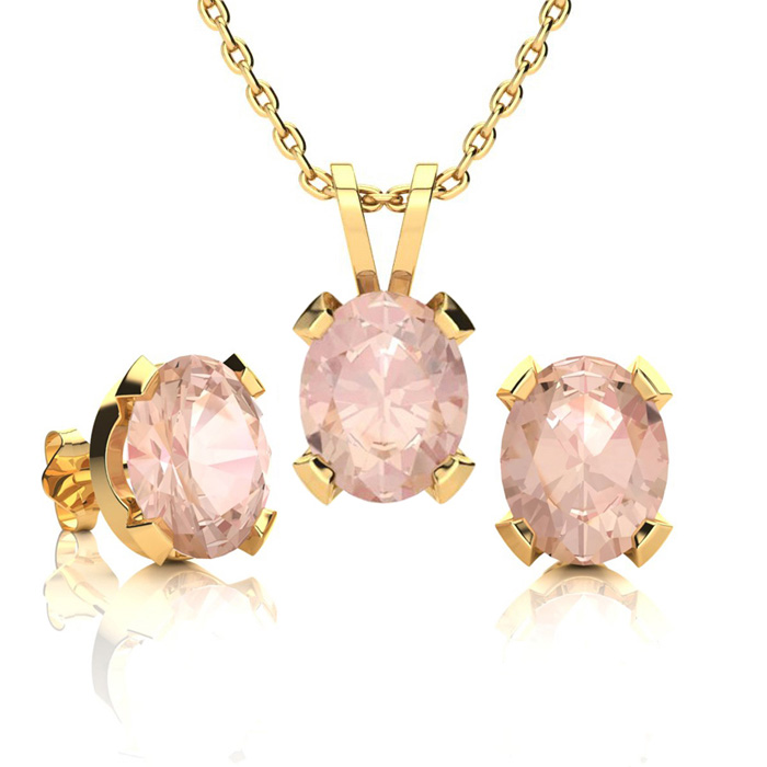 3 Carat Oval Shape Morganite Necklace and Earring Set In 14K Yellow Gold Ove..