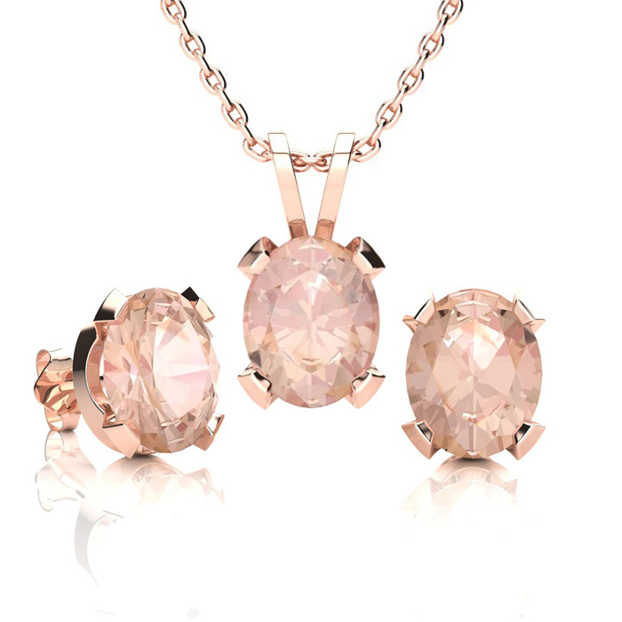 3 Carat Oval Shape Morganite Necklace and Earring Set In 14K Rose Gold Over ..