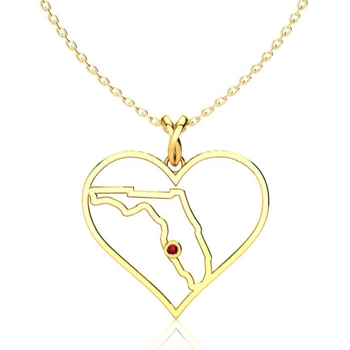 I Love Florida Heart Necklace In Yellow Gold With Crystal Ruby Accent, 18 In..