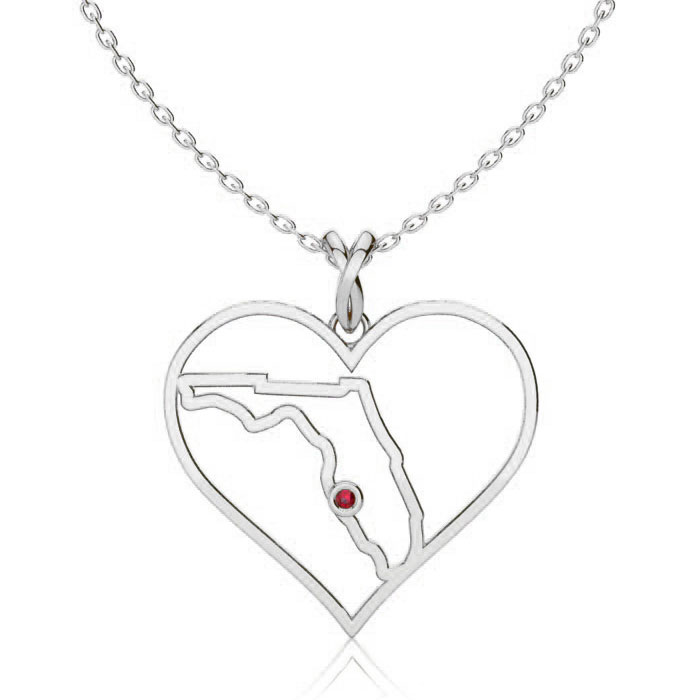 I Love Florida Heart Necklace In White Gold With Crystal Ruby Accent, 18 Inches.