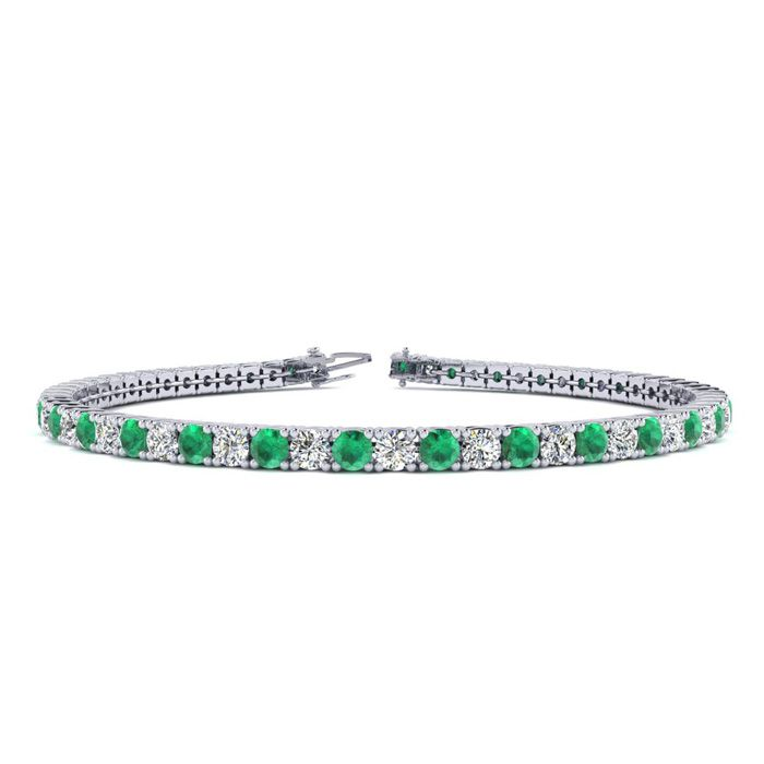 6 Inch 2 3/4 Carat Emerald And Diamond Tennis Bracelet In 10k White Gold