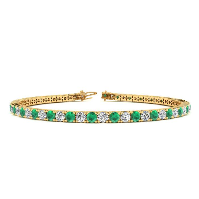 7 Inch 3 1/3 Carat Emerald And Diamond Tennis Bracelet In 10k Yellow Gold