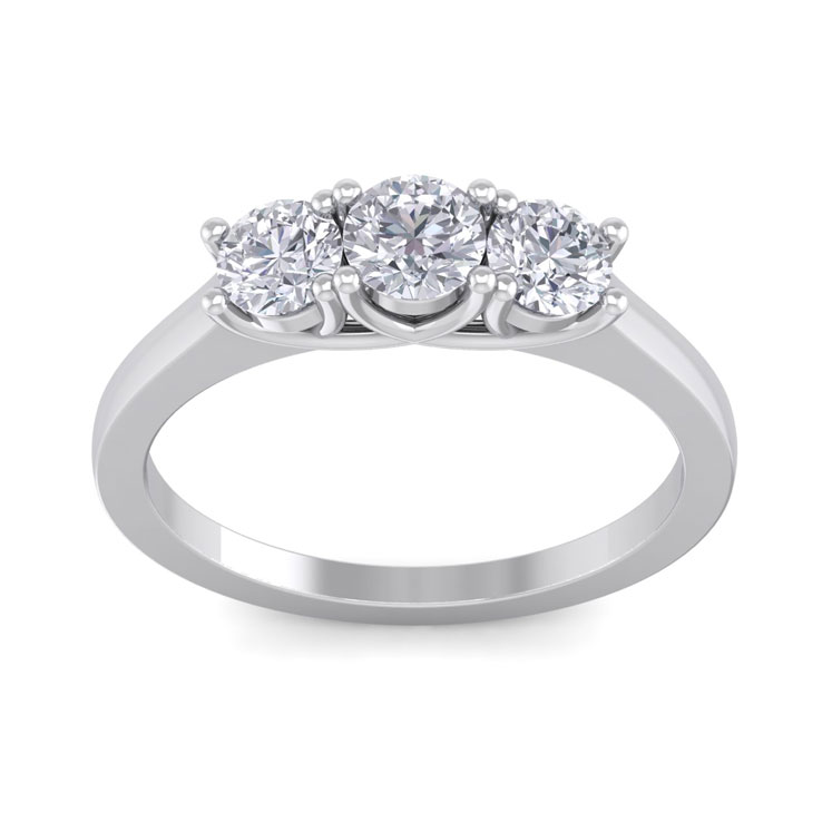 1ct Three Diamond Ring In 14k White Gold,  G/h Color Si1 Clarity