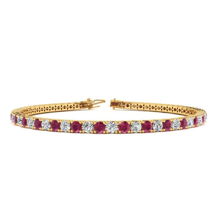 7.5 Inch 4 Carat Ruby And Diamond Tennis Bracelet In 10k Yellow Gold