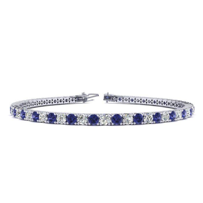 8.5 Inch 2 3/4 Carat Tanzanite And Diamond Tennis Bracelet In 10K White Gold 25939