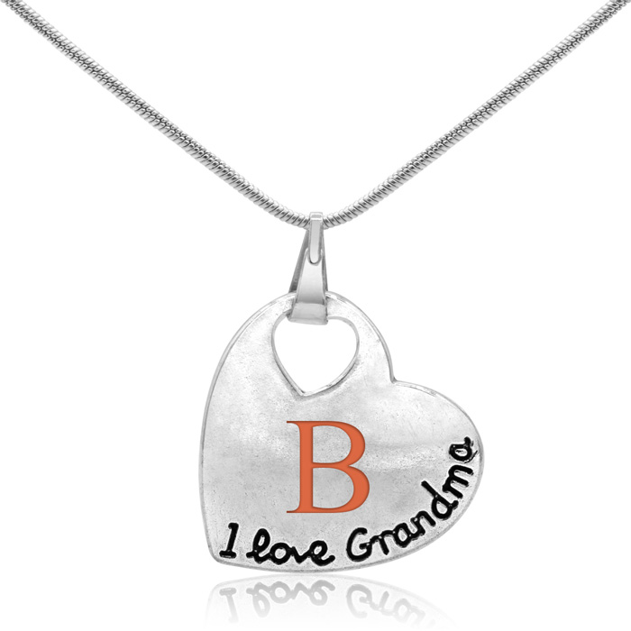 I Love Grandma Floating Heart Necklace, 18 Inches