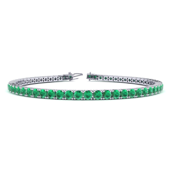 4 1/3 Carat Emerald Tennis Bracelet In 10k White Gold Available In 6-9 Inch Lengths