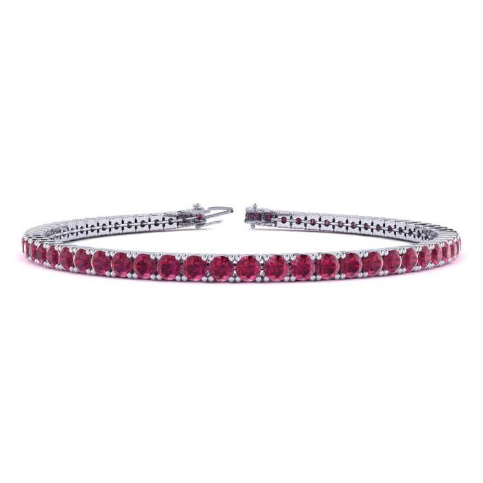 5 Carat Ruby Tennis Bracelet In 10k White Gold Available In 6-9 Inch Lengths
