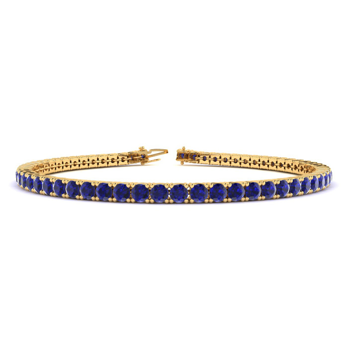 4 1/3 Carat Sapphire Tennis Bracelet In 10k Yellow Gold Available In 6-9 Inch Lengths
