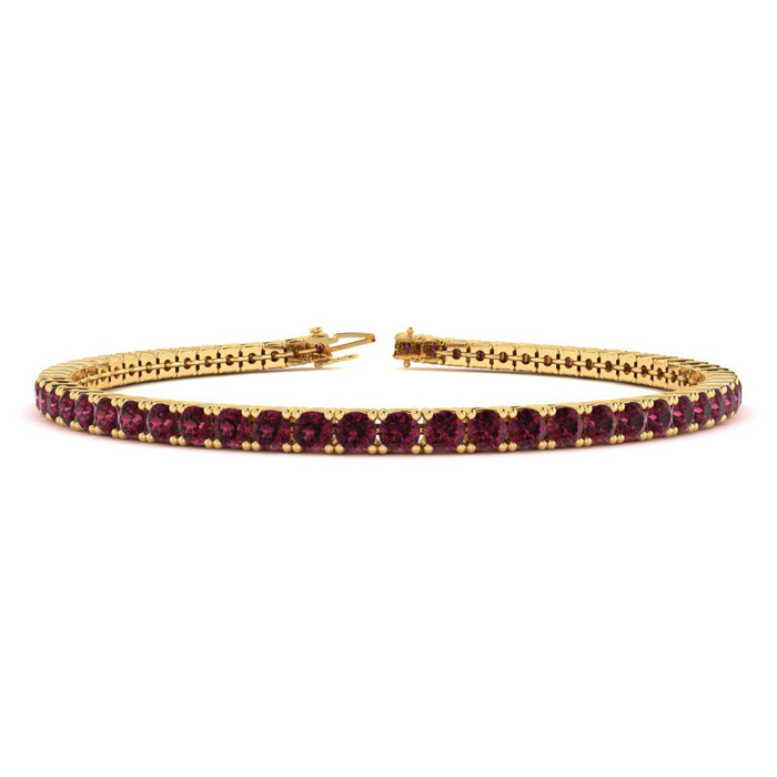 3 1/2 Carat Garnet Tennis Bracelet In 10k Yellow Gold Available In 6-9 Inch Lengths