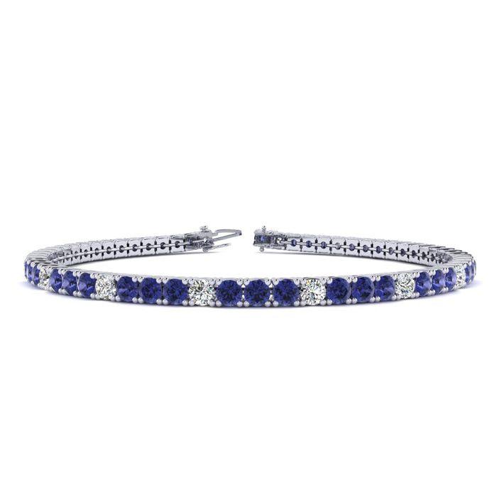 7 Inch 2 1/4 Carat Tanzanite And Diamond Alternating Tennis Bracelet In 10K White Gold 26187