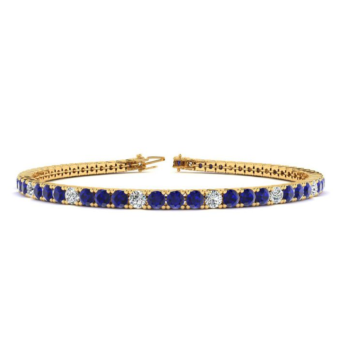 7.5 Inch 4 Carat Sapphire And Diamond Alternating Tennis Bracelet In 10k Yellow Gold