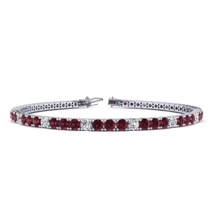 8 Inch 3 1/2 Carat Garnet And Diamond Alternating Tennis Bracelet In 10k White Gold