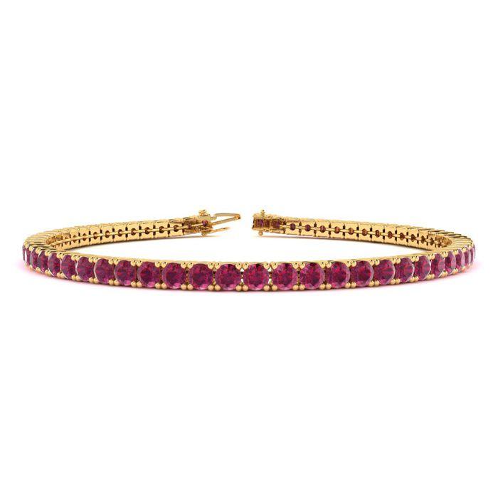 7.5 Inch 5 1/2 Carat Ruby Tennis Bracelet In 14k Yellow Gold