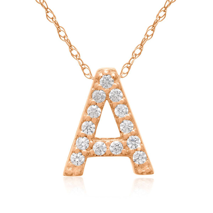 A Initial Necklace In 18K Rose Gold With 13 Diamonds