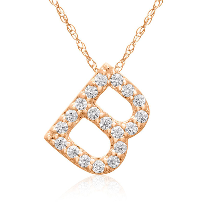 B Initial Necklace In 18K Rose Gold With 19 Diamonds