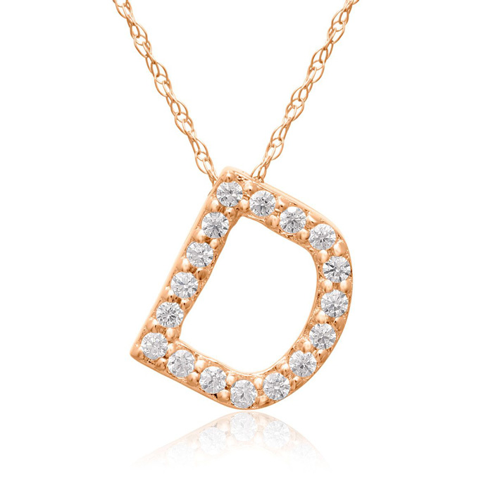 D Initial Necklace In 18K Rose Gold With 17 Diamonds