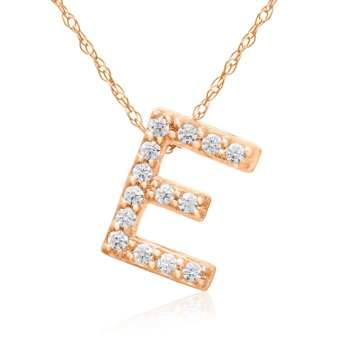 E Initial Necklace In 18K Rose Gold With 14 Diamonds