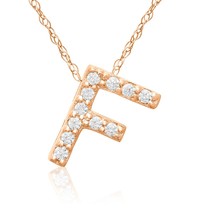 F Initial Necklace In 18K Rose Gold With 11 Diamonds
