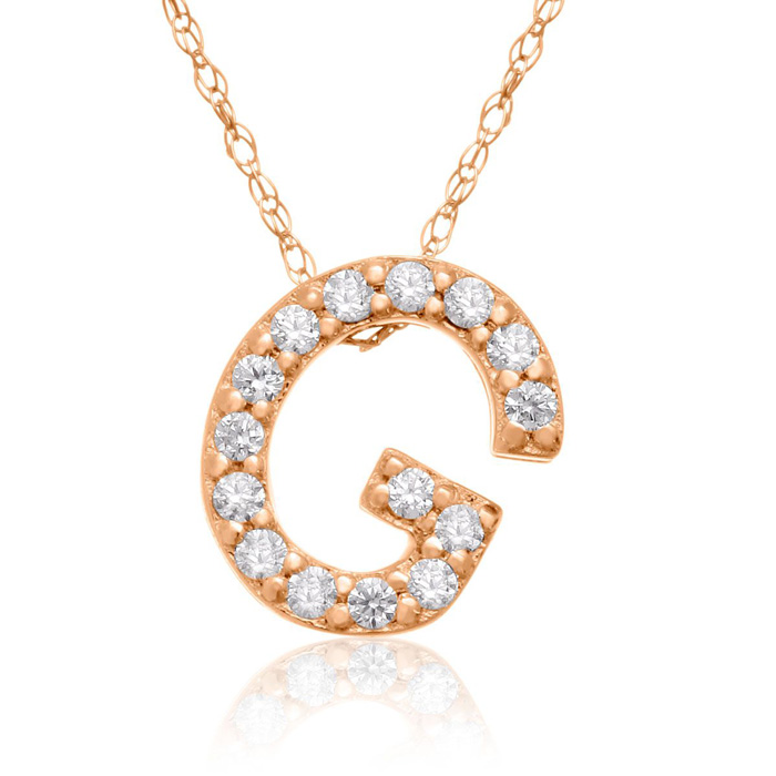 G Initial Necklace In 18K Rose Gold With 15 Diamonds