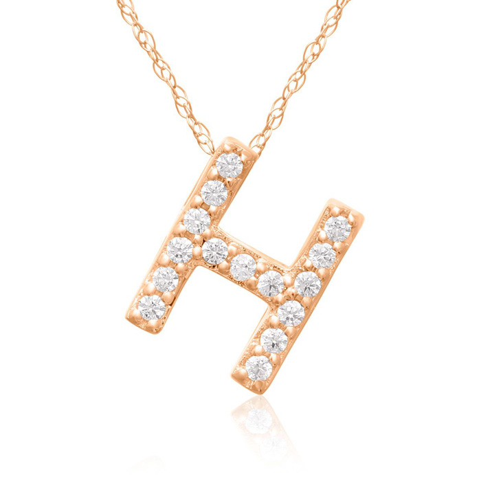 H Initial Necklace In 18K Rose Gold With 15 Diamonds