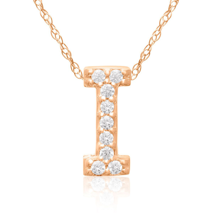 I Initial Necklace In 18K Rose Gold With 9 Diamonds