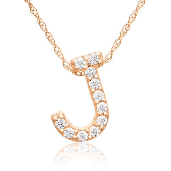 J Initial Necklace In 18K Rose Gold With 11 Diamonds
