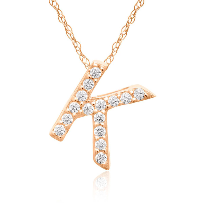 K Initial Necklace In 18K Rose Gold With 15 Diamonds