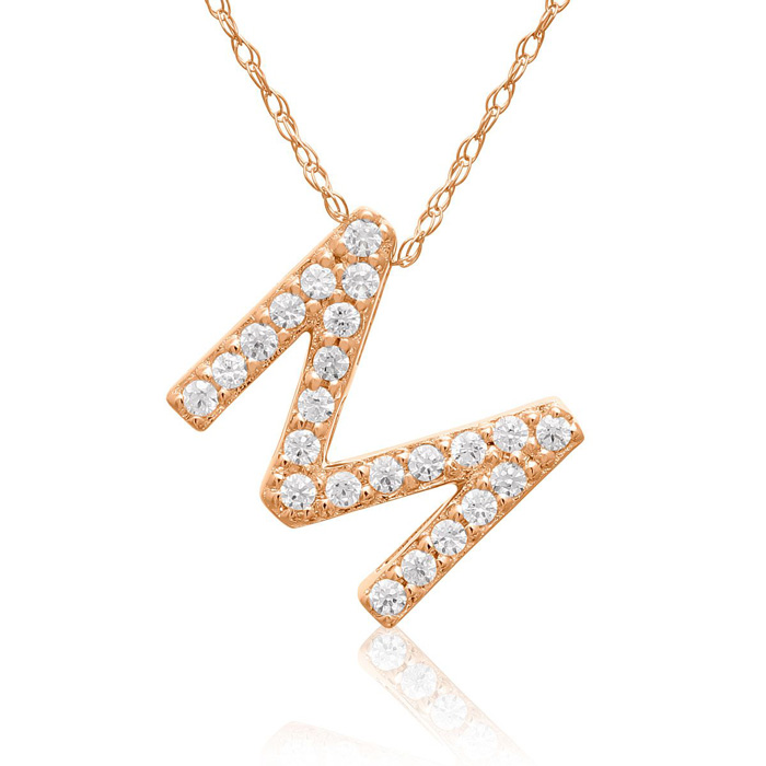 M Initial Necklace In 18K Rose Gold With 23 Diamonds