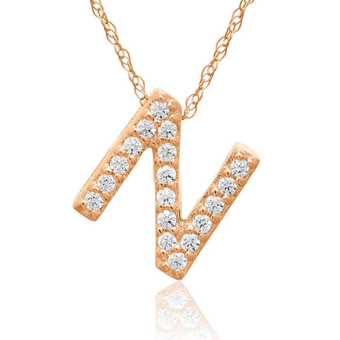 N Initial Necklace In 18K Rose Gold With 18 Diamonds