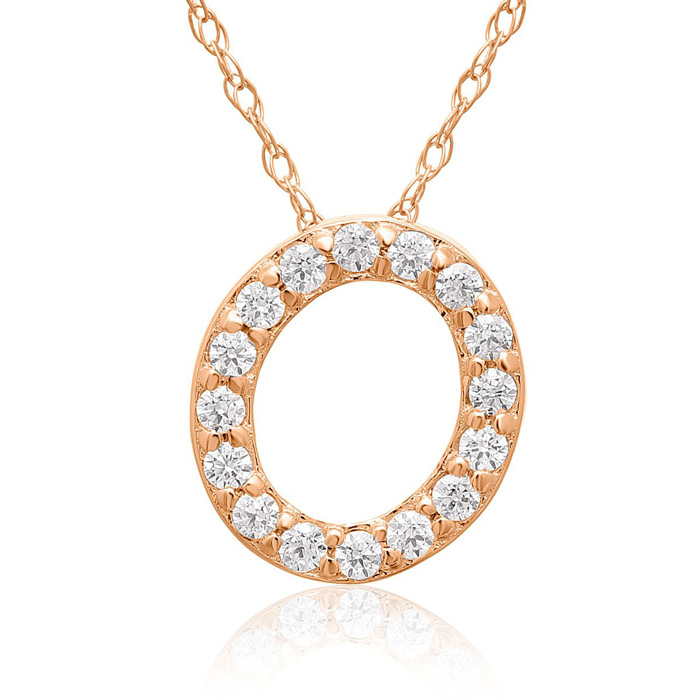 O Initial Necklace In 18K Rose Gold With 16 Diamonds