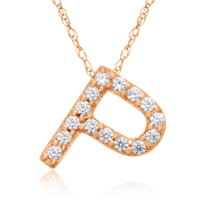 P Initial Necklace In 18K Rose Gold With 15 Diamonds