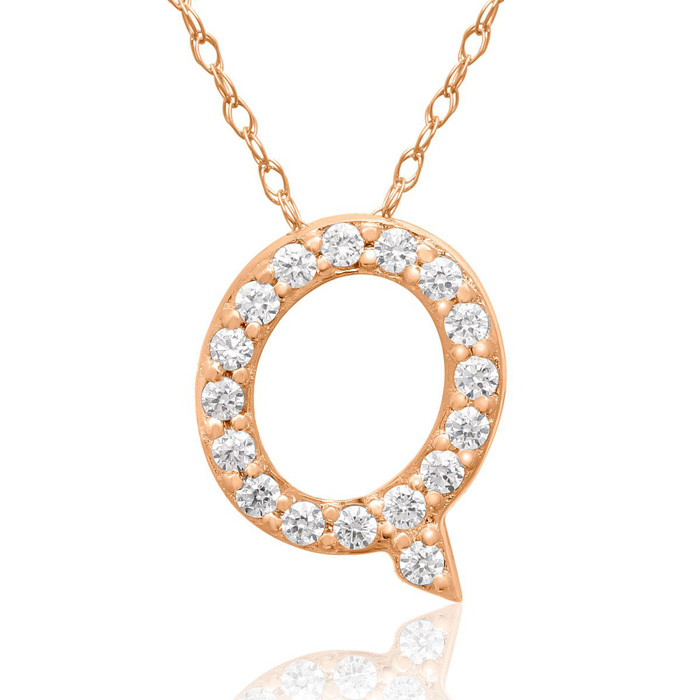 Q Initial Necklace In 18K Rose Gold With 17 Diamonds