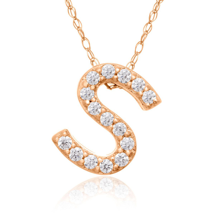 S Initial Necklace In 18K Rose Gold With 15 Diamonds