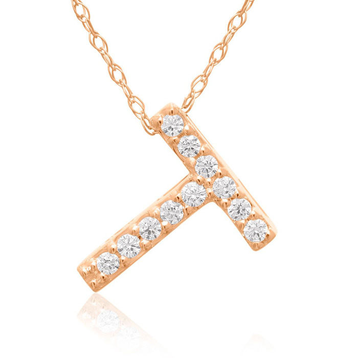 T Initial Necklace In 18K Rose Gold With 11 Diamonds